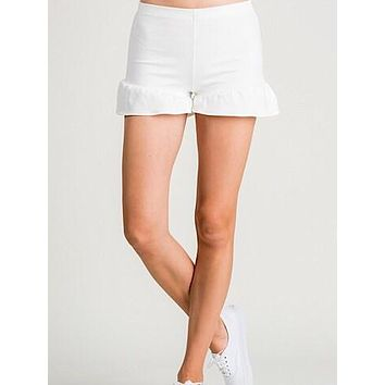 For The Frill Of It Ruffle Shorts | White