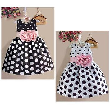 2015 New Popular Baby Kids Girls Summer Clothes Dresses Party Sleeveless Polka Dot Flower Gown Formal Dress 2 3 4 5 6 7 Years