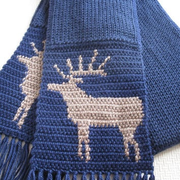 Knit Mens Scarf. Navy blue, knitted scarf with elk silhouettes. Animal scarf. Wildlife crochet
