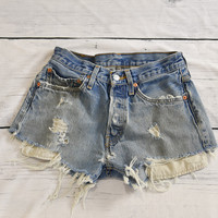 Lived In Levis 501s Distressed and Repaired Denim Jean Shorts 23 24 26 28 30 32 34 36 38 40