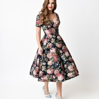 Collectif 1950s Navy Woodland Bloom Maria Swing Dress