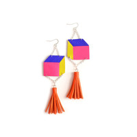 Cube Geometric Earrings, Blue, Green and Hot Pink Escher Square, Orange Leather Tassel Earrings