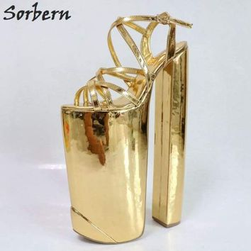Sorbern Gold Shiny Women Sandals Extreme Chunky Heeled Thick Platform Summer Shoes Show Display Sandals Slingbacks DIY Heels Macchar Cosplay Catalogue