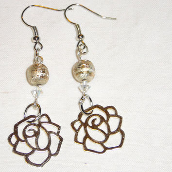 Silver Rose Dangle Earrings with Hand Made Copper Beads. Silver Earrings. Bead Earrings. Flower Jewelry. Spring. Summer. Flowers.