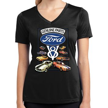 Ladies Ford Mustang T-shirt V8 Collection Moisture Wicking V-Neck