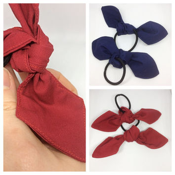 Handmade Sports Team Cheerleading Set of Two Knot Bow Hair Ties Accessory 2 for 5