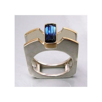 Iolite 18k Yellow Gold and Silver Ring Unisex All by aboutjewelry