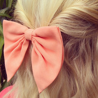 Unique peach BIG hair bow .