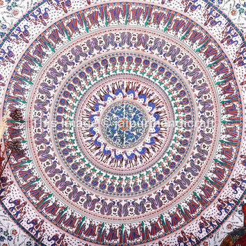 Wall Hangings, Mandala tapestries, Indian Tapestries, Bohemian Wall art, Christmas Gift, Hippie Hippy Tapestries, Twin White Mandala Sheet