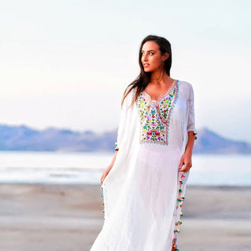 kaftan White beach dresses long kaftan dress maxi dresses Embroidered kaftan caftan dress long white maxi dress