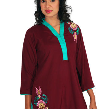 Women's Maroon Linen Embroidered Tunic