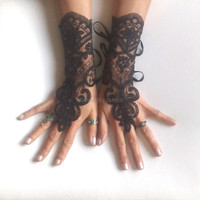 Frenc Lace gloves free ship black warlock gothic prom party bridesmaid special occasion gift goth wedding lace Gypsy cuff lace tribal fusion