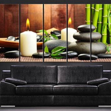 LARGE CANVAS ART - Zen and Yoga Stones with Candles Canvas Print - Flower Stone Large Art Canvas Panels