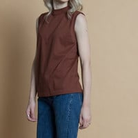 Vintage 90s Brown Muscle Tshirt Tank Top | M