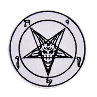 Baphomet Iron On Patch White with Black Applique
