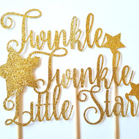 Twinkle Twinkle Little Star Cake Topper, Baby Shower decor, Gold glitter, Stars, Nursery Rhyme, New baby, party decor, baby girl boy, silver
