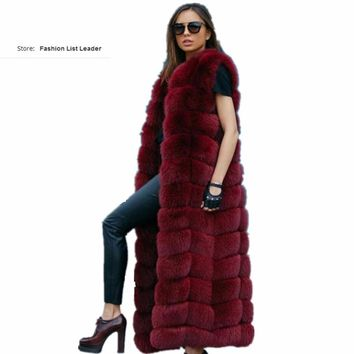 10steps 120cm Super Long Fur Vest Winter Women Luxury Faux Fox Fur Vest Furry Slim Woman Fake Fur Vest Plus Size Faux Fur wj1342