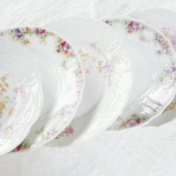 Gorgeous C.T. Bavaria Mismatched Dessert or Salad Plates, Tea Party for 5, Wedding, Cottage Style, Vintage, Housewarming Gift Inspired