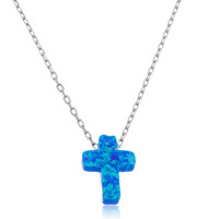 Real 925 Sterling Silver Light Blue Created Opal Cross Pendant with an 18 Inch Link Necklace