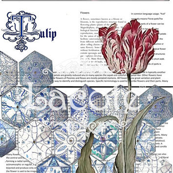 Tulip Blue  Delft Tiles Print, Personalized Newspaper Art, Custom Flower Print, Wedding Gİft, Engagement, Aniversary Monagramed Wall Art