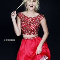 Sherri Hill 32270 Short Full Skirt Two Piece Beaded Homecoming Dress