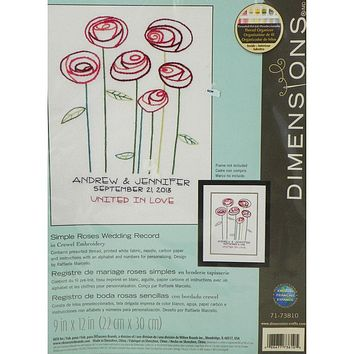 Simple Roses Wedding Record - Crewel Embroidery Kit - Dimensions