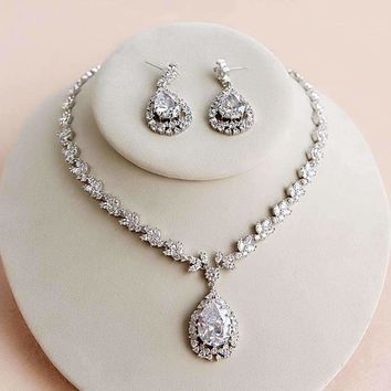 Wedding Ornaments Zirconia Crystal Jewelry Set Drop Pendant Necklace + Earrings For Bridal Jewelry Accessory Silver Plated