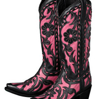 Lane Poison Black And Pink Cowgirl Boots