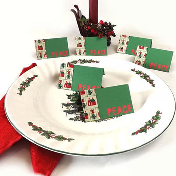 6 Christmas Place Setting Cards, PEACE Tent Style Plate Cards, Green & Red Party Table Decor, Bag Toppers, Gift Tags