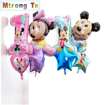 4pcs/lot mickey minnie mouse baby shower girl boy first birthday 1st foil balloon helium party birthday decor globos classic toy