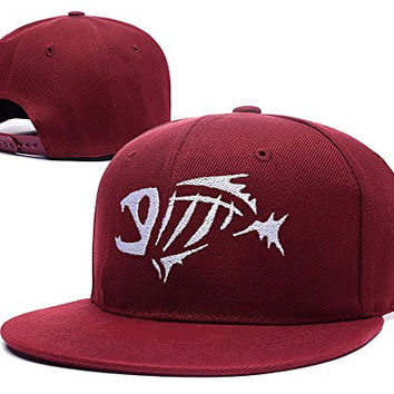 BARONL G.Loomis Fish Bones Fear No Adjustable Snapback Embroidery Caps Hats - Red