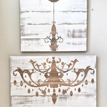 Huge Rustic Distressed White Wood Chandelier, Rustic Decor, Farmhouse Decor, Rustic Dinning Living  room Decor, Wall Decor, Wood Sign