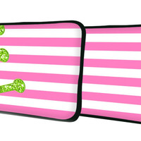 """Custom LAPTOP MACBOOK Sleeve Stripes Faux Glitter Monogram 11"""" 12"""" 13"""" 14"""" 15"""" - Personalized Monogram - Design Printed on Front AND Back"""