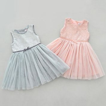 Summer Baby Girl Wedding Dress Kid Sleeveless Sequined  Party Tulle Tutu Bowknot Dresses Pink Gray 2-7Y
