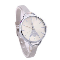 Girls Silver Alloy Strap Wrist Watch Womens Eiffel Tower Casual Sports Watches Best Christmas Gift