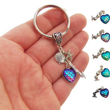 Heart shaped mermaid scale keychain, dangle mermaid scale keychain, heart mermaid scales key chain, party favors, mermaid birthday party