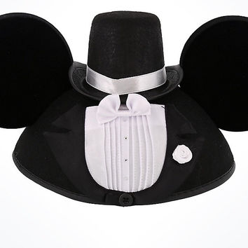 Disney Parks Wedding Mickey Groom Felt Ear Hat New with Tags