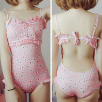 M/L/XL Pinky Heart Melting Swimming Suit SP165906