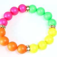 Neon Swarovski Pearl and Crystal Bracelet, Stretch Bracelet, Neon Colors, Orange, Green, Yellow, Pink