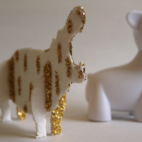 Gold Glitter Hippo Figurine Sculpture