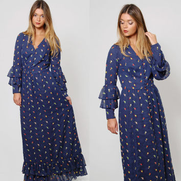 Vintage 70s Navy Blue FLORAL Maxi Dress Boho Style Prairie Dress EMBROIDERED Maxi Dress RUFFLE Sleeve Hippie Dress