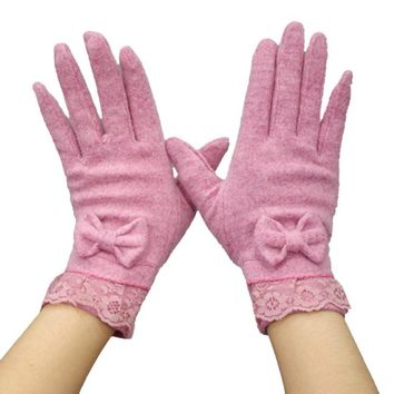 JECKSION Winter Gloves Women Female leather gloves 2016 Solide Women Gloves Butterfly Knot Soft And Warm Female Glove #LSN