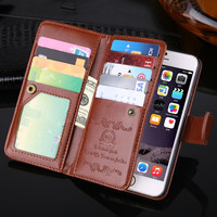 Fashional Flip Leather Cover Case 4.7 inch For iPhone 6 Phone Bag Multi functional card holder wallet case Phone Cover SJ0051