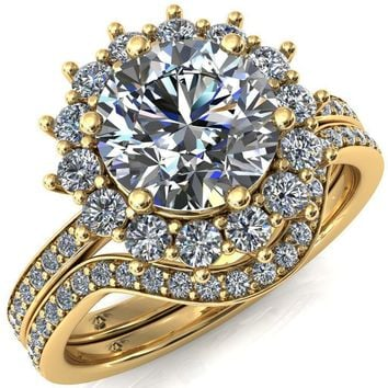 The Duchess Round Moissanite 6 Prong Diamond Cluster Halo Ring