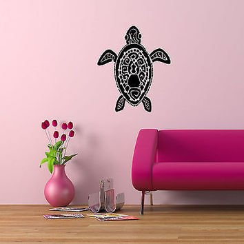 HAWAIIAN STYLE FLORAL TRIBAL TURTLE WALL VINYL STICKER  DECALS  ART MURAL D552