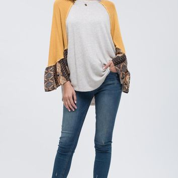 Women's Raglan Contrast Bell Sleeve Top