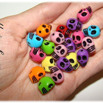 20 Acrylics Beads, Skulls, Sugar Skull, Size 13mm-Hole 1mm (color RAINBOW)