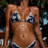 Spring Break Blue Floral Pattern Triangle Top Cut Out Bikini Two Piece Swimsuit