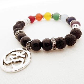 Seven Chakras Ohm Bracelet, Black Lava Stone, Real Gemstones, Silver Plated Beads, Buddhist Prayer Beads, Semi-Precious Gemstones,  Stretch