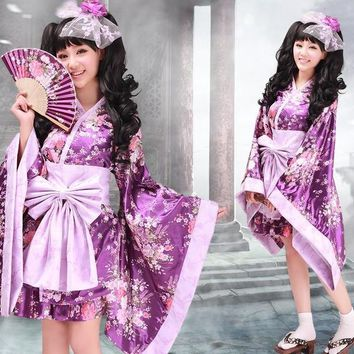 New Japanese Kimono Sets Traditional Silk Yukata Dress Japan Sexy Cosplay Costumes COS Costume Suits Role-play Clothing M-XXL